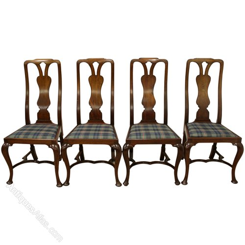 47a186ab0a8b Set Of 4 Queen Anne Style Mahogany Dining Chairs - Antiques Atlas
