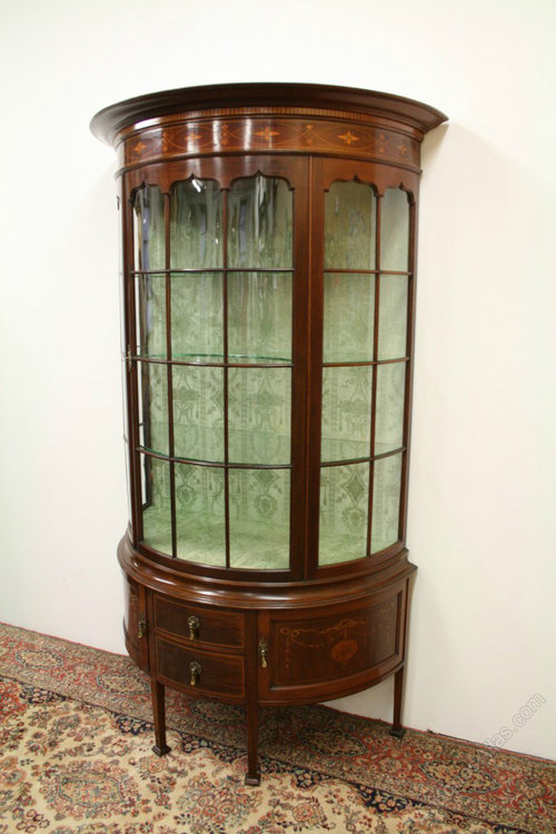 Sheraton Style Bow Front Display Cabinet Antique ... - Sheraton Style Bow Front Display Cabinet - Antiques Atlas