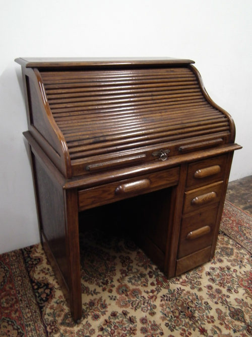 Small Oak Roll Top Desk Antique Desks