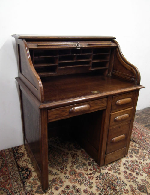 Small Oak Roll Top Desk Antique ... - Small Oak Roll Top Desk - Antiques Atlas