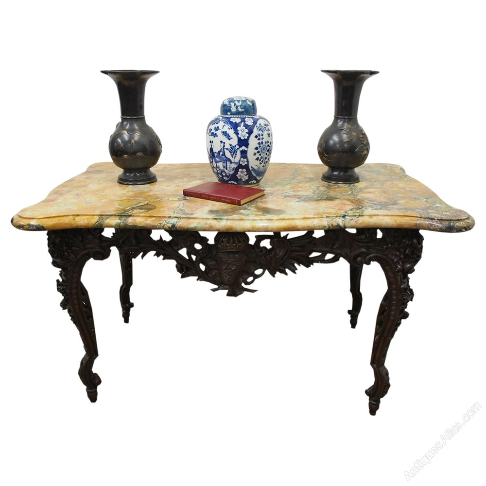 Charming Unusual French Marble Top Console Table ...