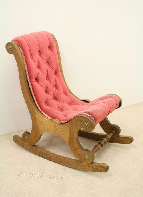 Charmant Unusual Victorian Oak Childs Rocking Chair ...