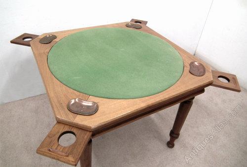 Unusual Walnut Bridge Table Card Antique Tables