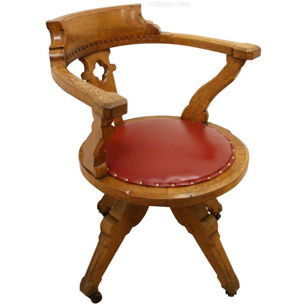 Victorian Gothic Revival Oak Desk Chair Antiques Atlas