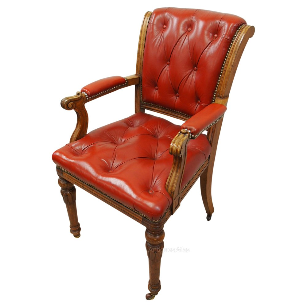 Victorian Walnut And Red Leather Arm Chair - Antiques Atlas