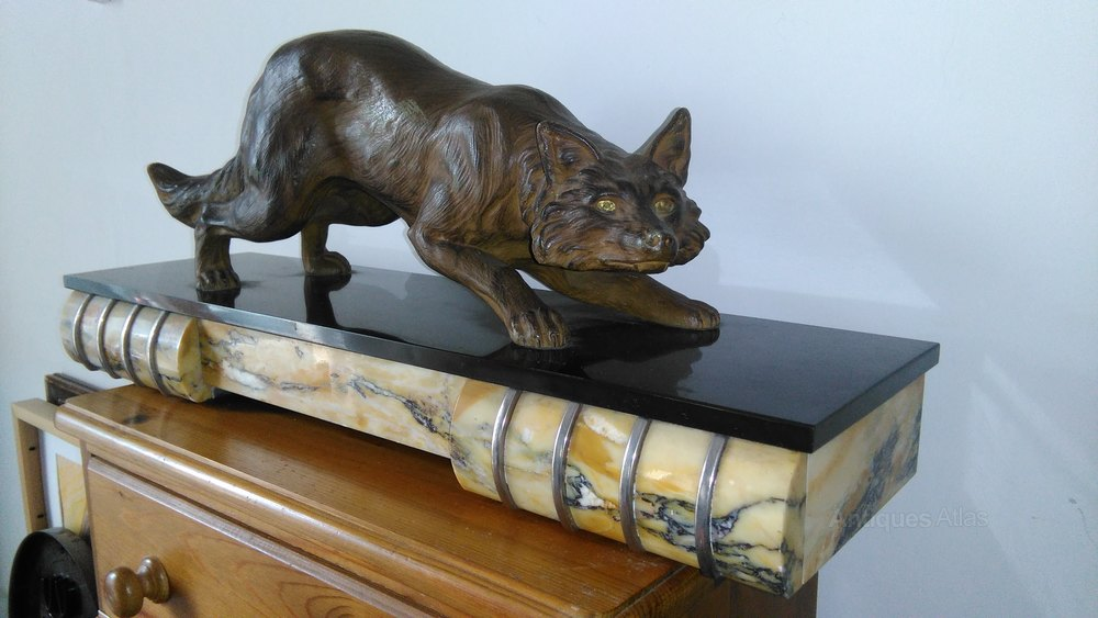 antiques atlas large art deco fox on marble base. Black Bedroom Furniture Sets. Home Design Ideas
