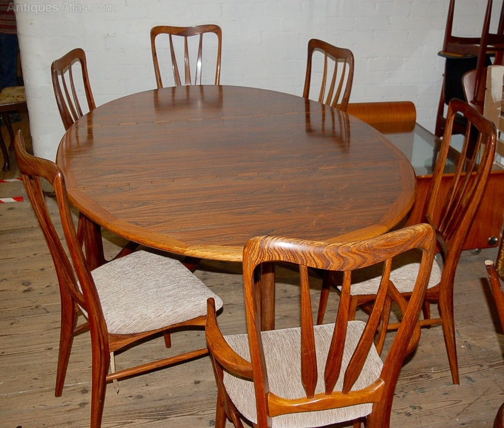 Rare Niels Koefoed Danish Rosewood Table U0026 6 Chair ...