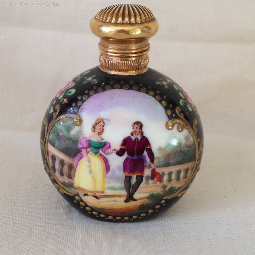 Antiques atlas hand painted porcelain scent bottle for Hand painted bottles