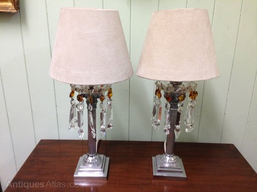 Antiques atlas pair of pretty table lamps with glass drops pair of pretty table lamps with glass drops aloadofball Image collections