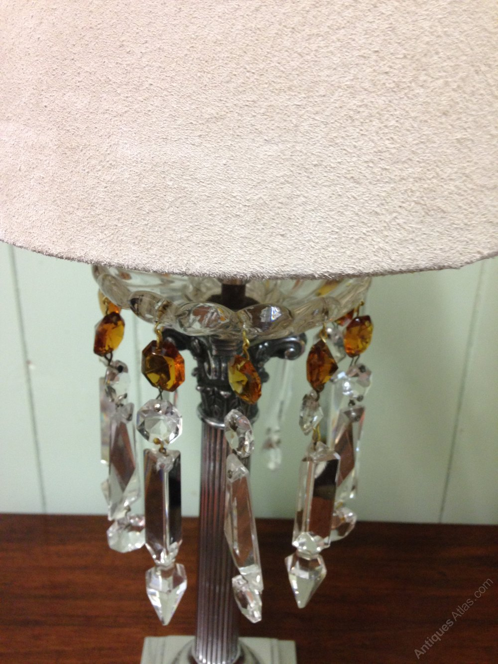 Antiques atlas pair of pretty table lamps with glass drops antique table lights aloadofball Image collections