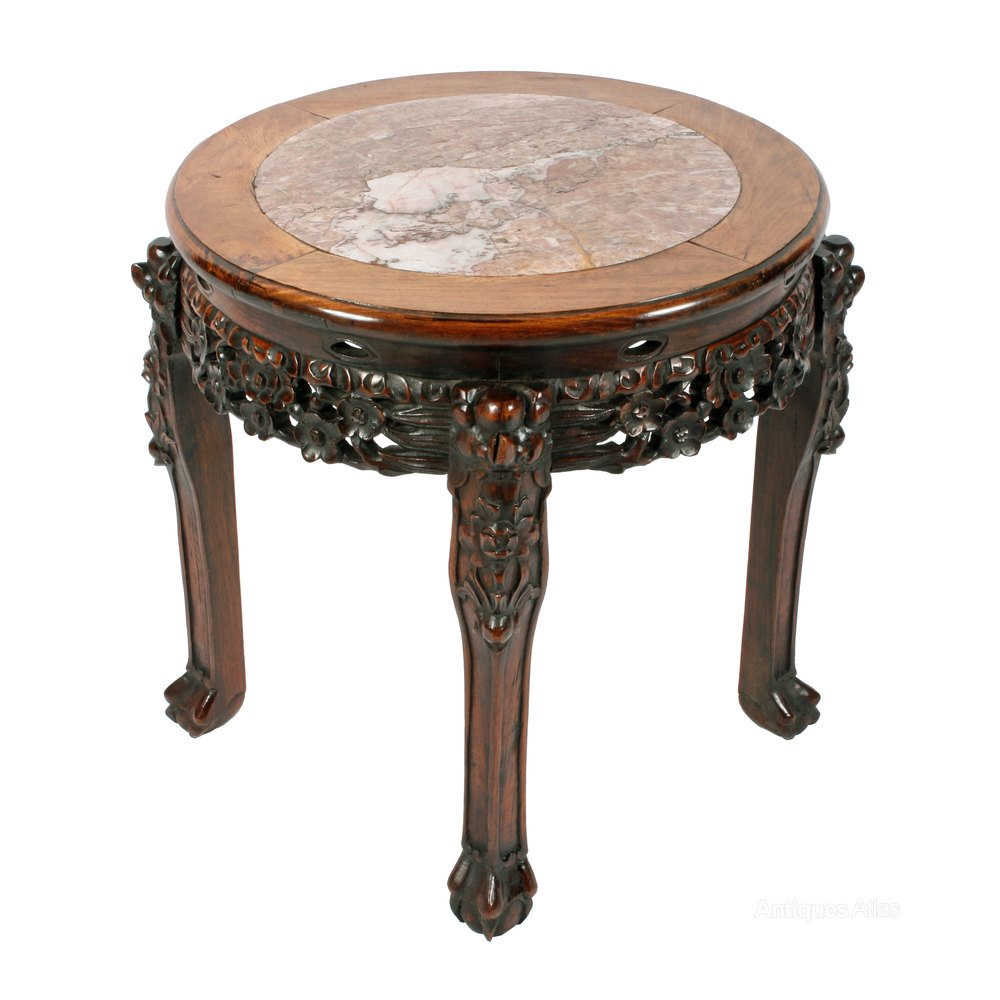 Vintage Chinese Marble Top Stand Antique Side Tables