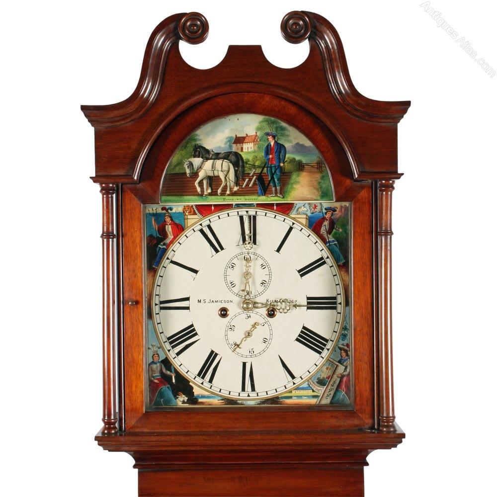 Victorian Robbie Burns Grandfather Clock