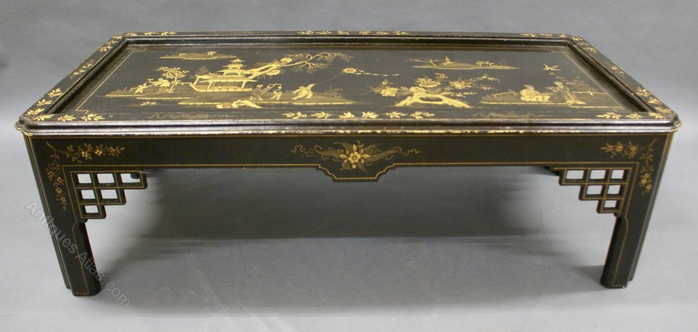 A Black Japanned Chinoiserie Coffee Table ...