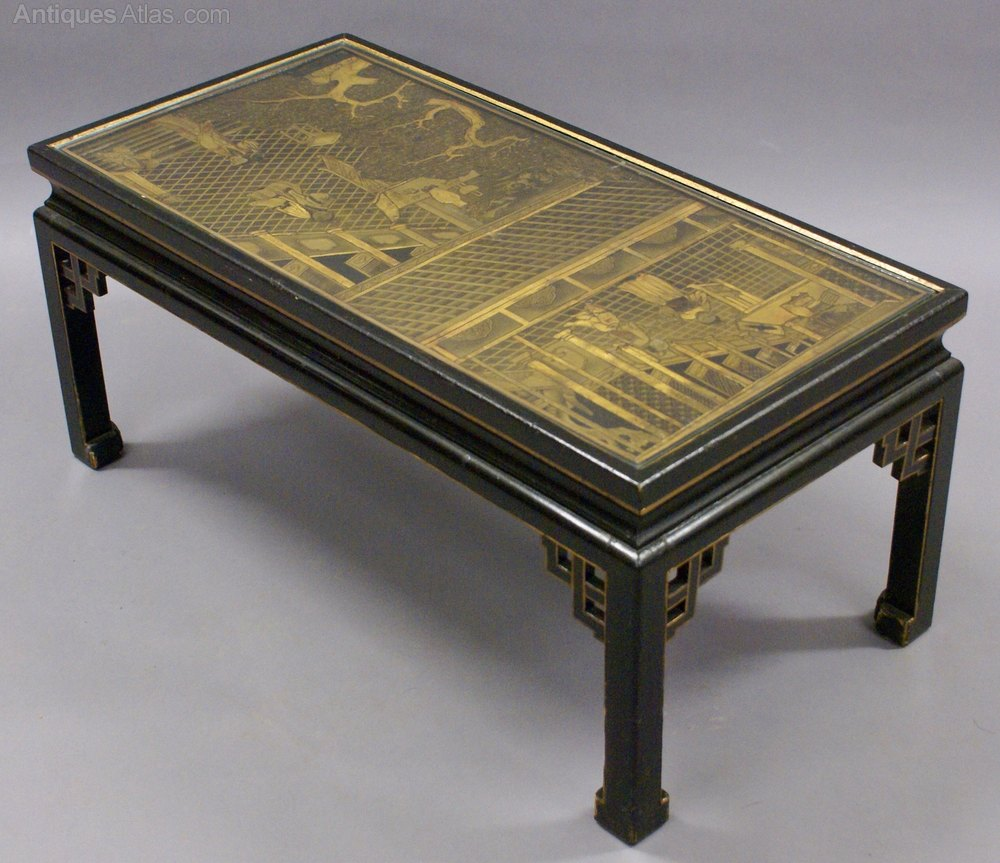 A Black Japanned Chinoiserie Coffee Table