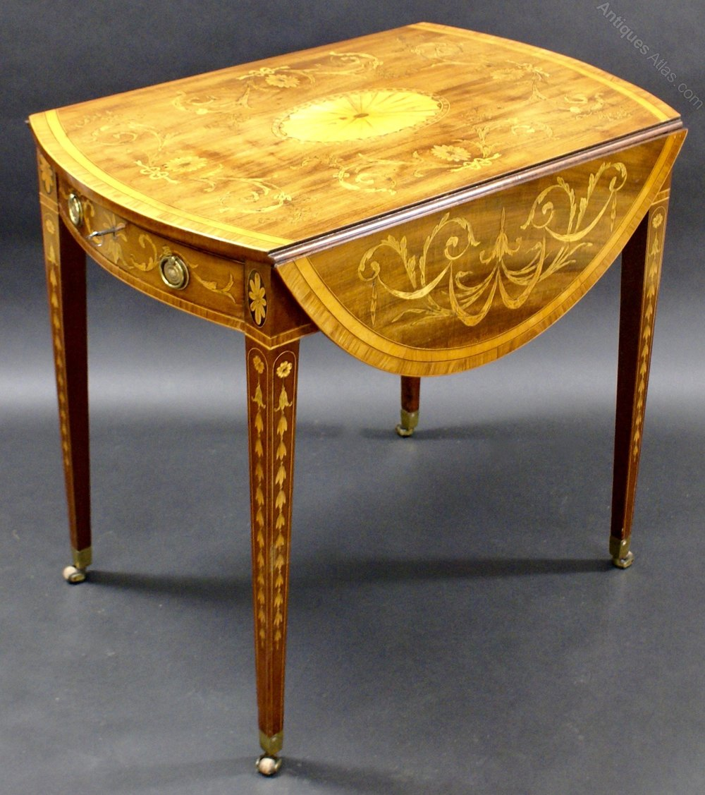 A Sheraton Period Inlaid Oval Pembroke Table