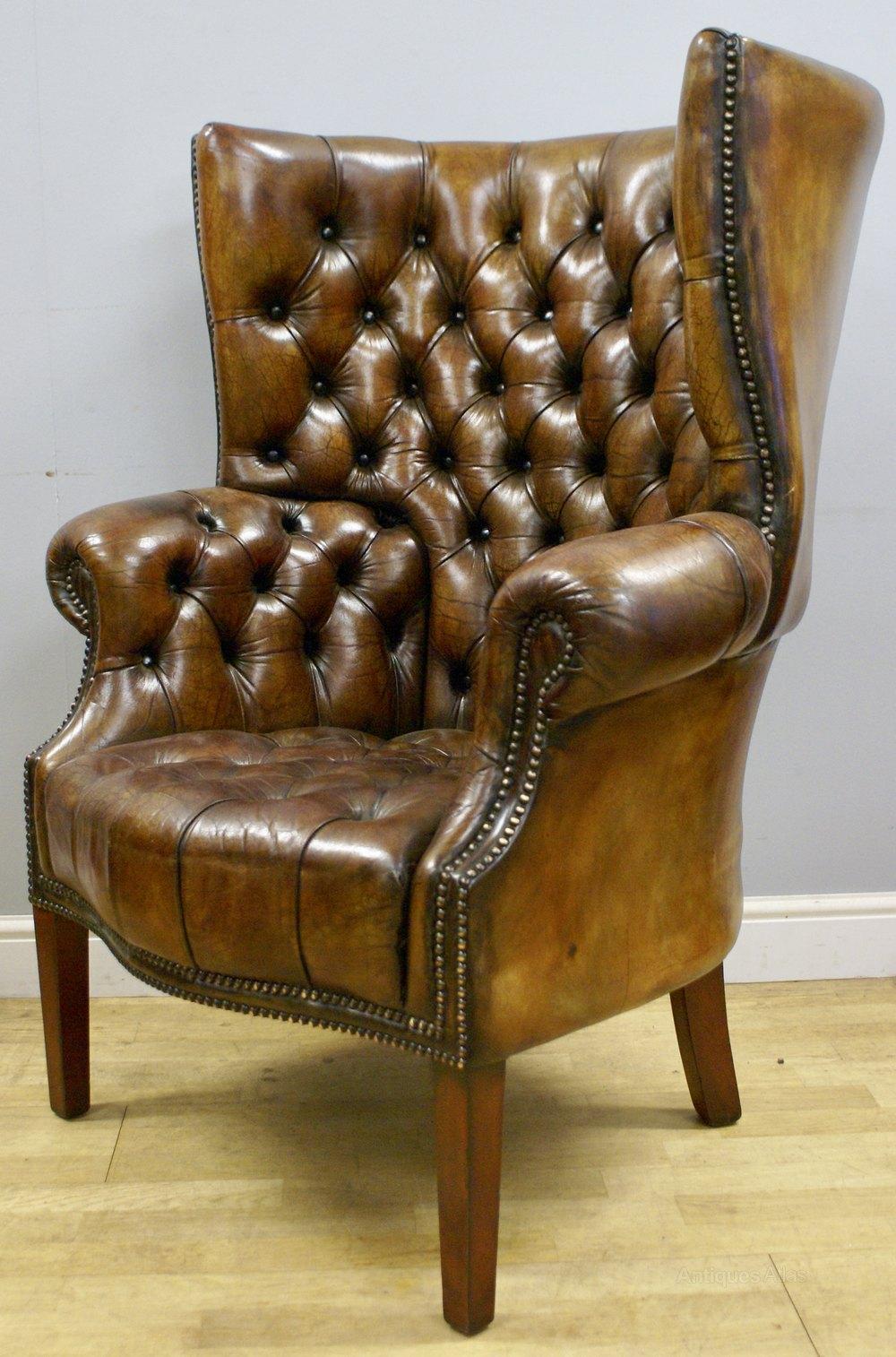 A Buttoned Leather Barrel Back Arm Chair Antiques Atlas