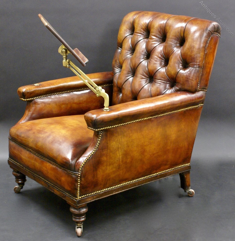 A Large Leather Upholstered Reading Chair Antique Reading Chairs ...