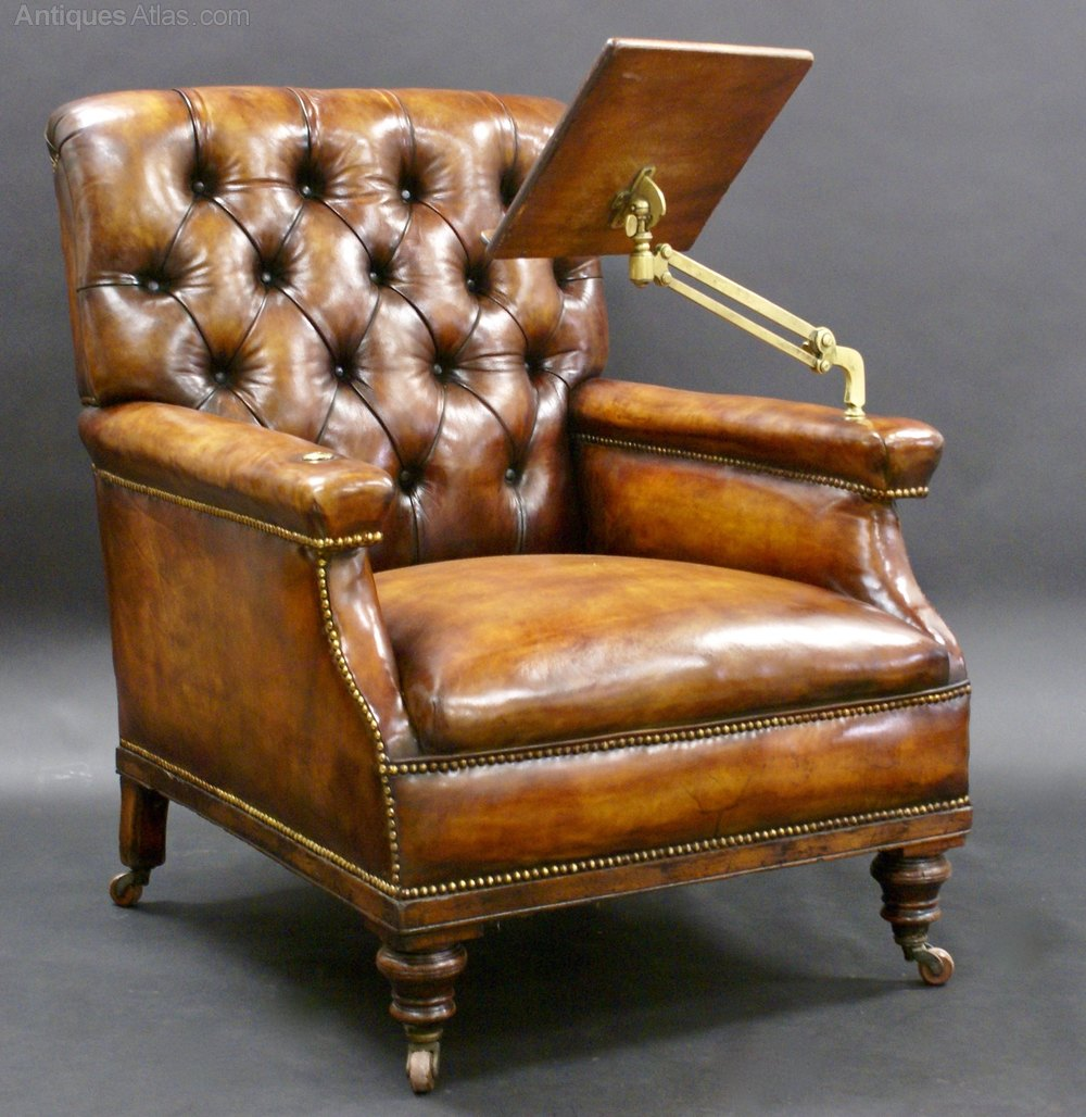Charmant A Large Leather Upholstered Reading Chair ...