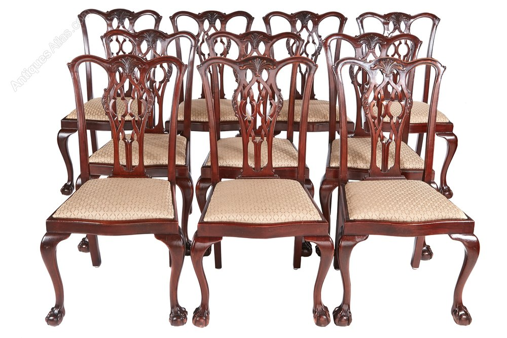 10 Antique Mahogany Chippendale Style Dining Chair
