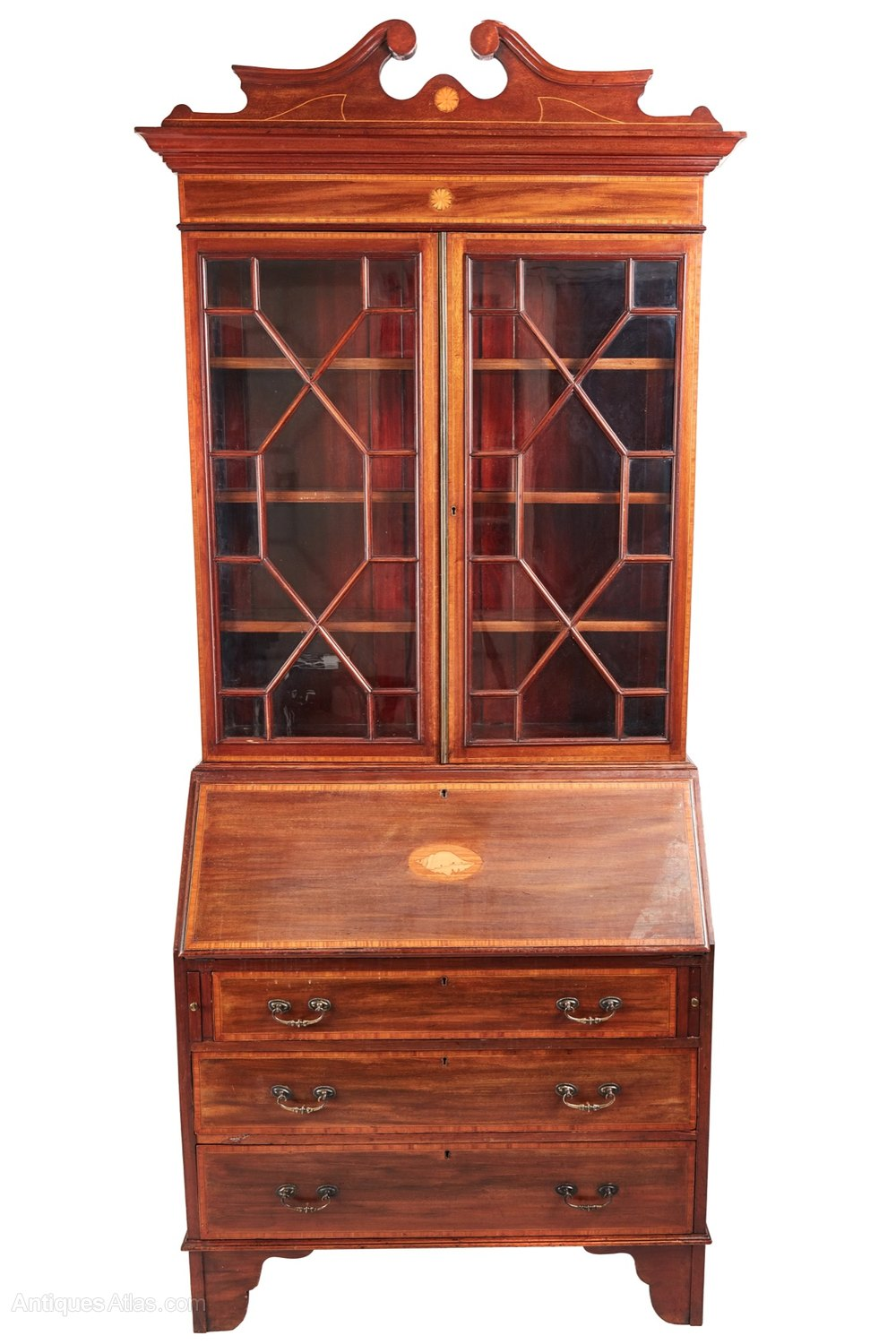 edwardian mahogany inlaid bureau bookcase antiques atlas. Black Bedroom Furniture Sets. Home Design Ideas