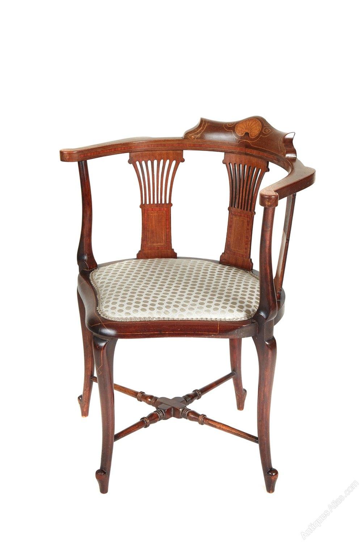 edwardian mahogany inlaid corner chair antiques atlas