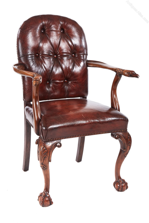 Fantastic Antique Carved Walnut Desk Chair Antiques Atlas