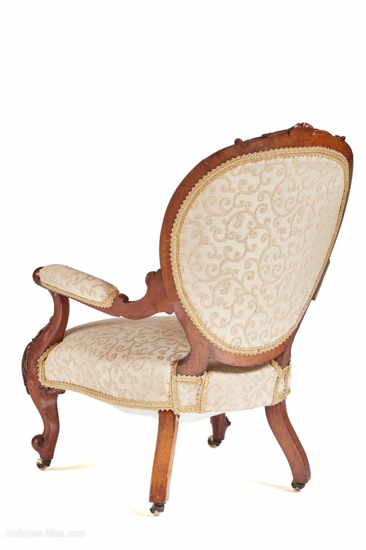 Fine Victorian Carved Walnut Armchair C.1850 - Antiques Atlas
