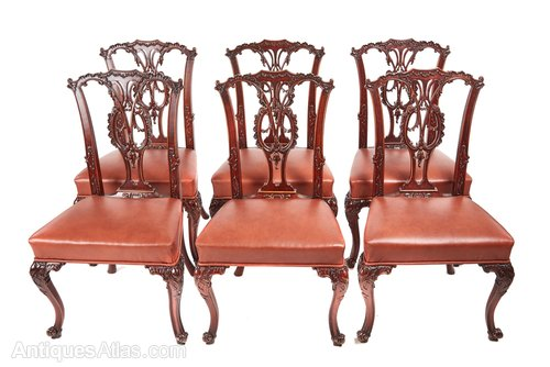 68526656a5f7f Fine Set Of Six Chippendale Style Dining Chairs - Antiques Atlas