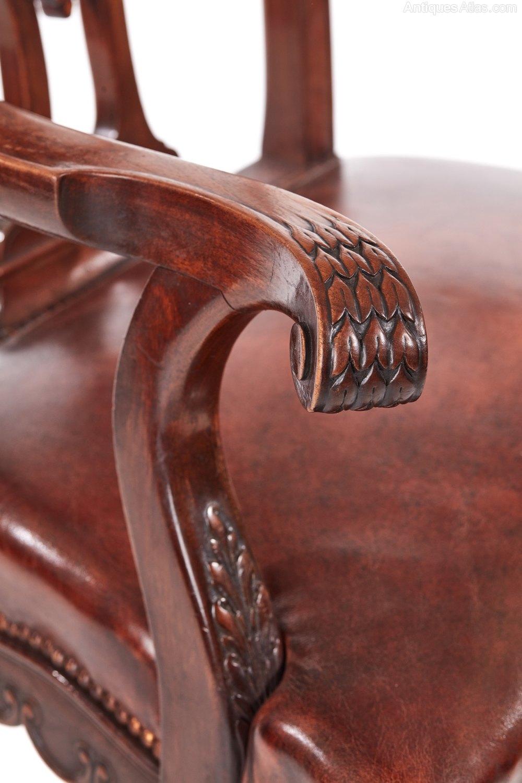 large antique carved mahogany desk chair antiques atlas
