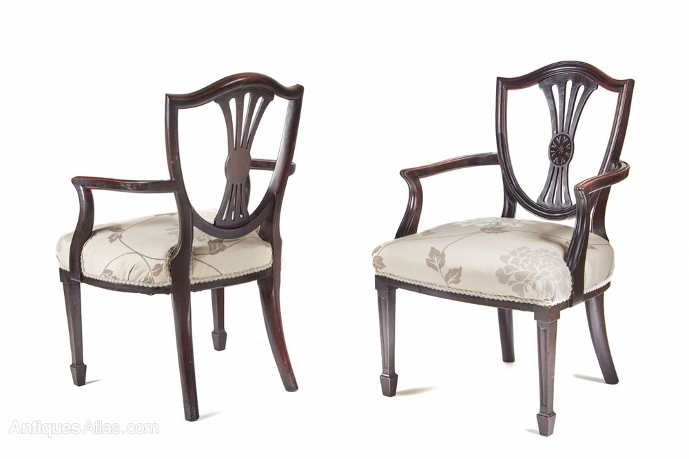 Pair Of Hepplewhite Style Elbow Chairs C.1880 Pair Of Antique Chairs ...