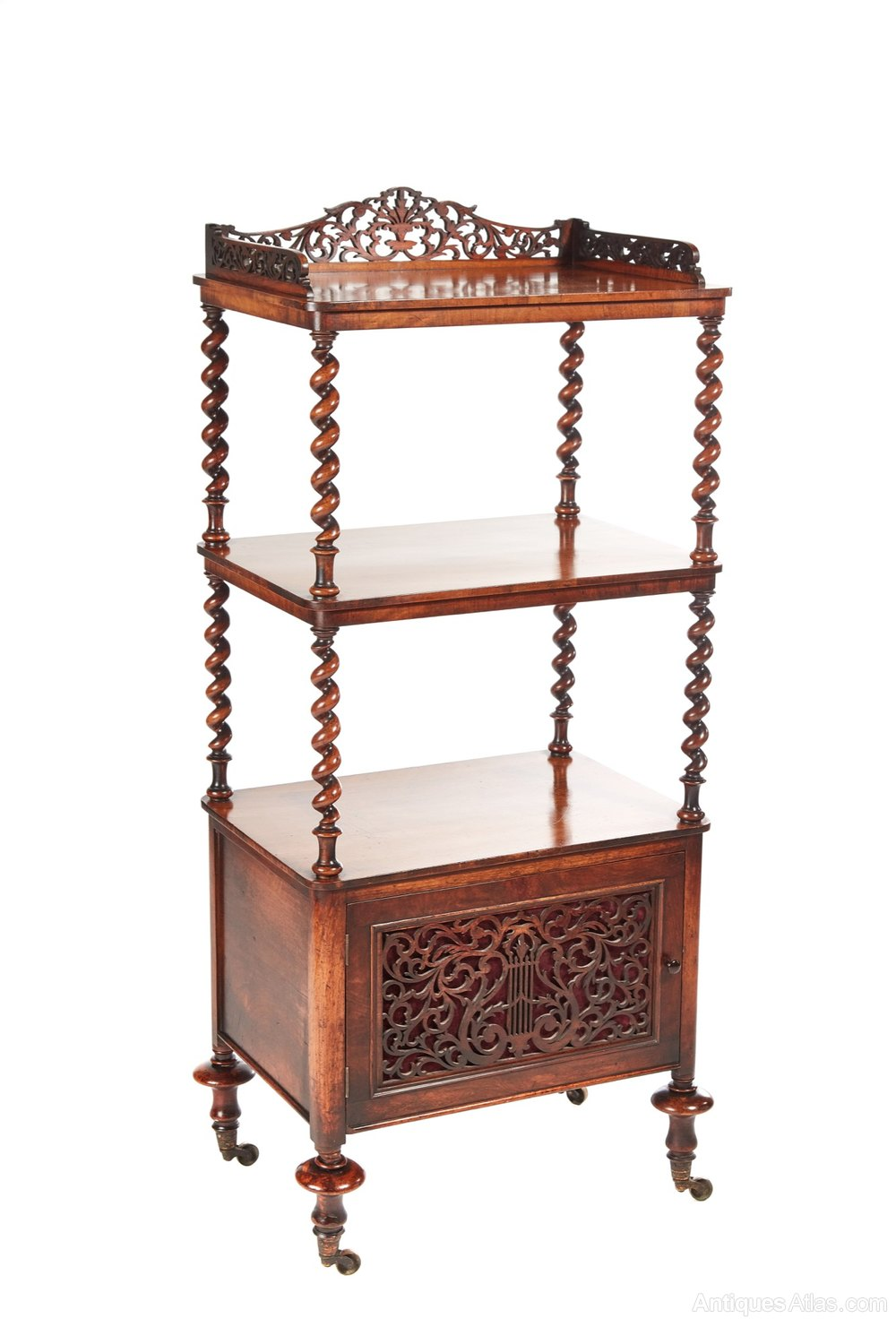 What Not To Do When Getting Your Makeup Done: Victorian Burr Walnut Whatnot