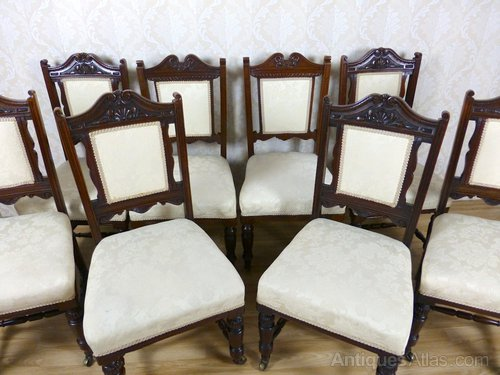 - 8 Mahogany Cream Upholstered Dining Chairs - Antiques Atlas