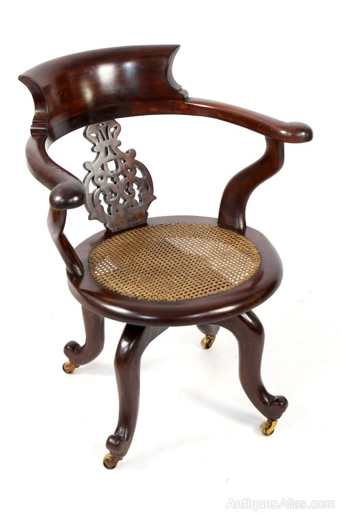 - Antique Mahogany Captains Desk Office Swivel Chair - Antiques Atlas