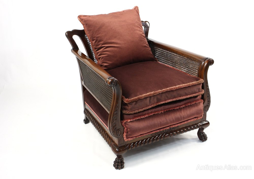 ... Antique Bergere Chairs ... - Pair Of Antique Mahogany Bergere Cane Armchairs - Antiques Atlas