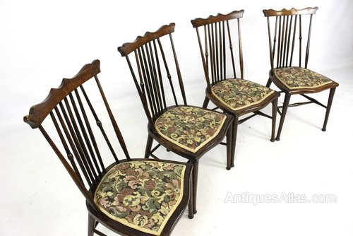 acefb4f4b372 Set Of 4 Beech   Mahogany Kitchen Dining Chairs - Antiques Atlas