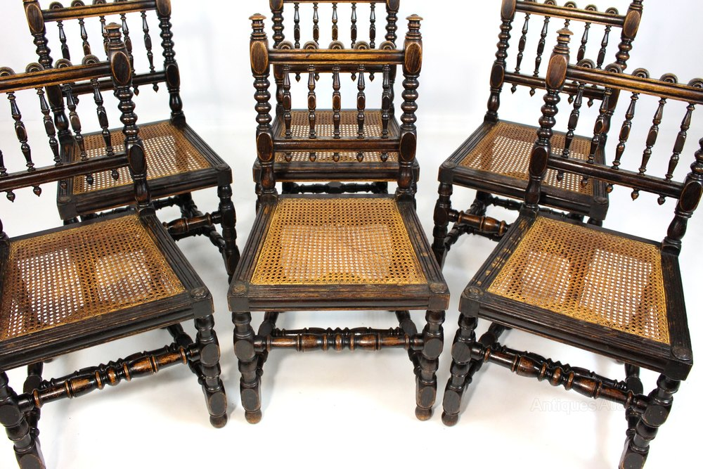 Set Of 6 Victorian Oak Bergere Dining Chairs