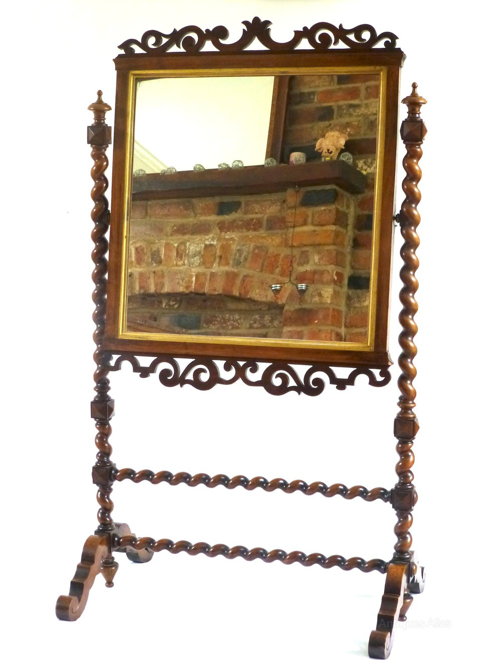 Antiques Atlas - Small Floor Standing Barley Twist Cheval Mirror