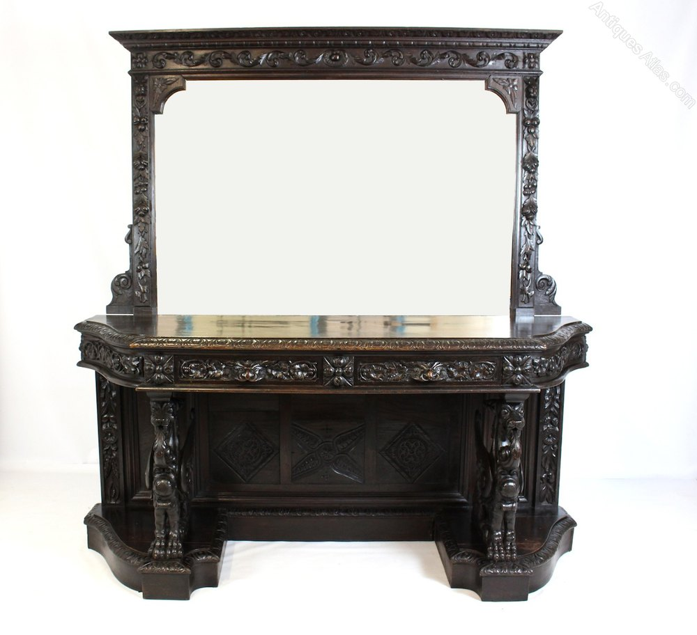 Victorian Oak Green Man Mirrored Gothic Sideboard