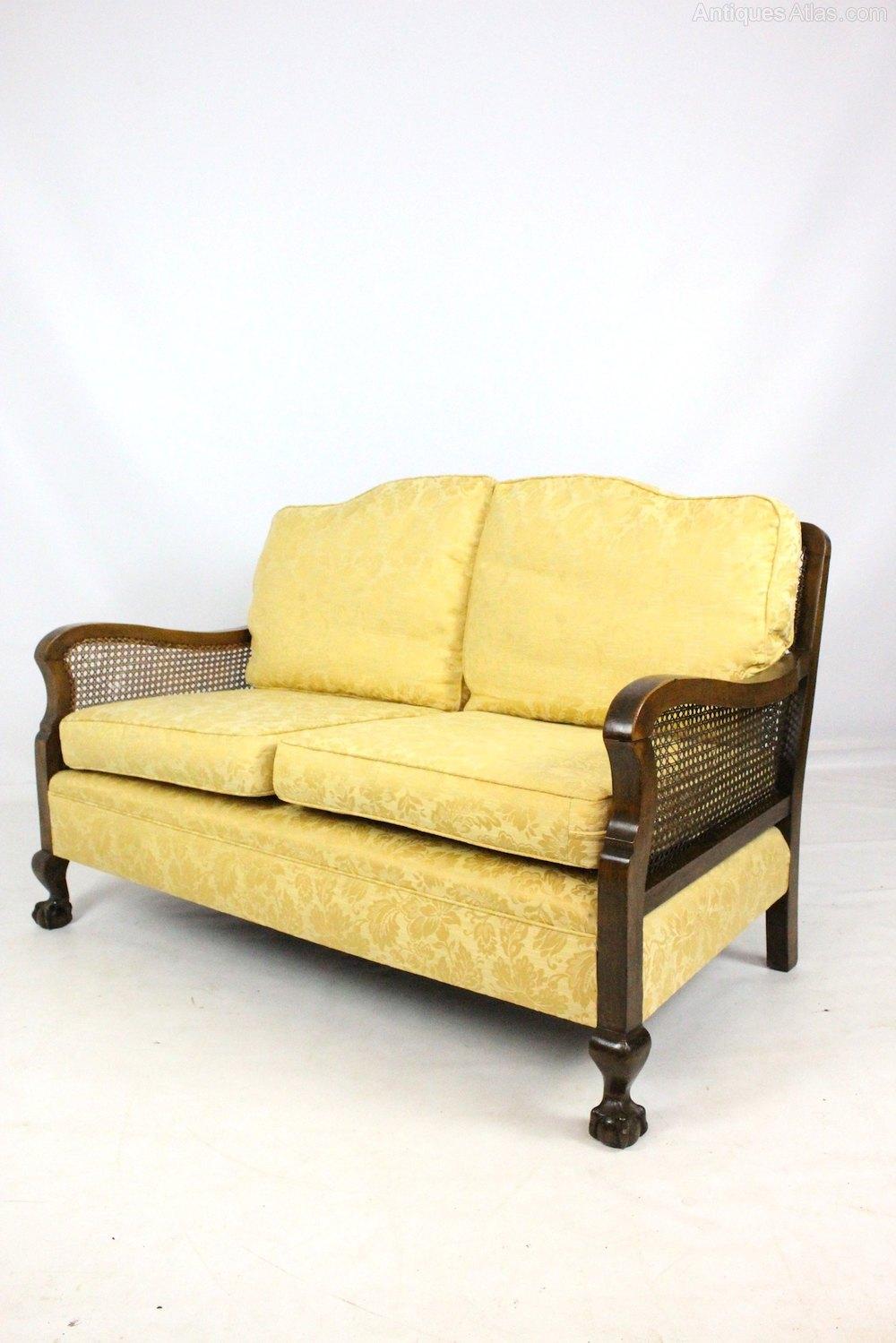 Walnut 2 Seater Bergere Cane Sofa Settee ...