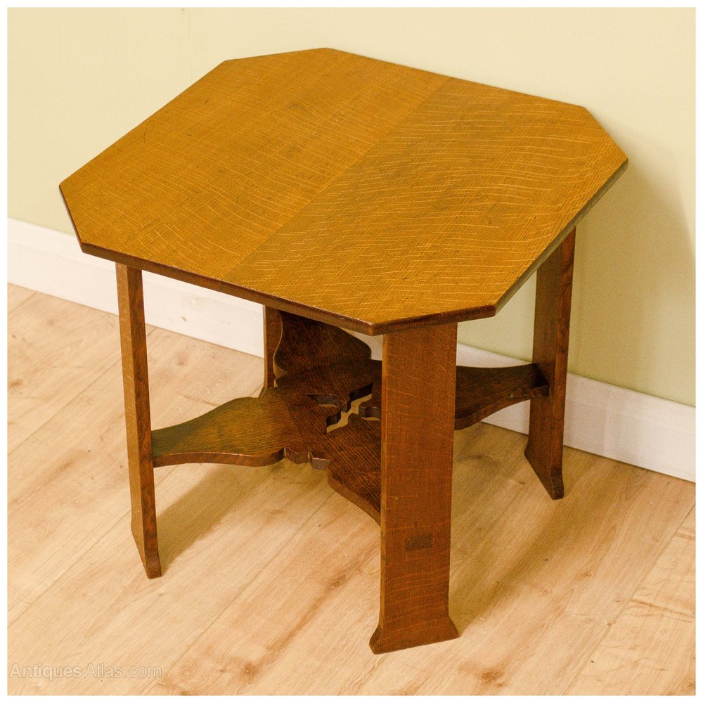 Arts crafts oak side table by arthur w simpson for Arts and crafts side table
