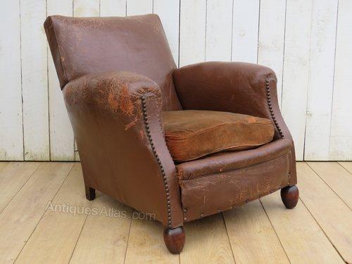 Wondrous Antique French Leather Club Chair Frankydiablos Diy Chair Ideas Frankydiabloscom
