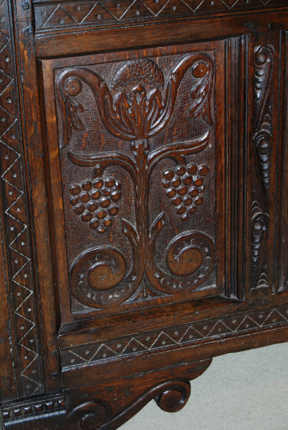 17th Century Oak Coffer With Four Panels Carved