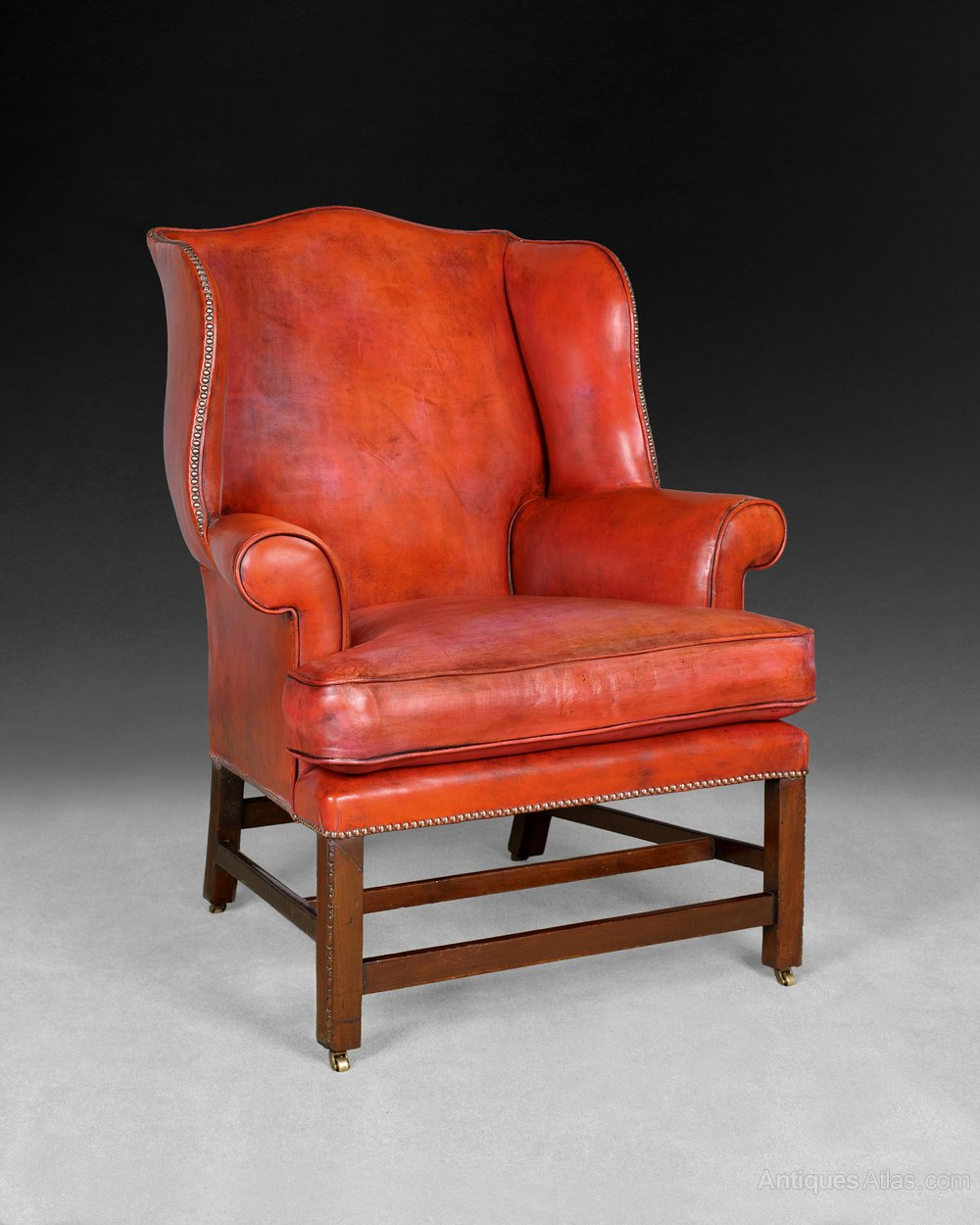 Georgian Chippendale Period Mahogany Wing Armchair