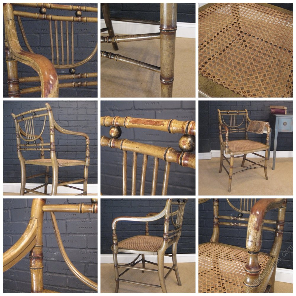 Regency Faux Bamboo Chair With Original Paint Antique Dining Chairs ... - Regency Faux Bamboo Chair With Original Paint - Antiques Atlas