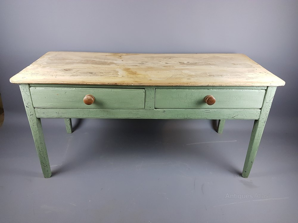 19thC Painted Antique Pine Table ...