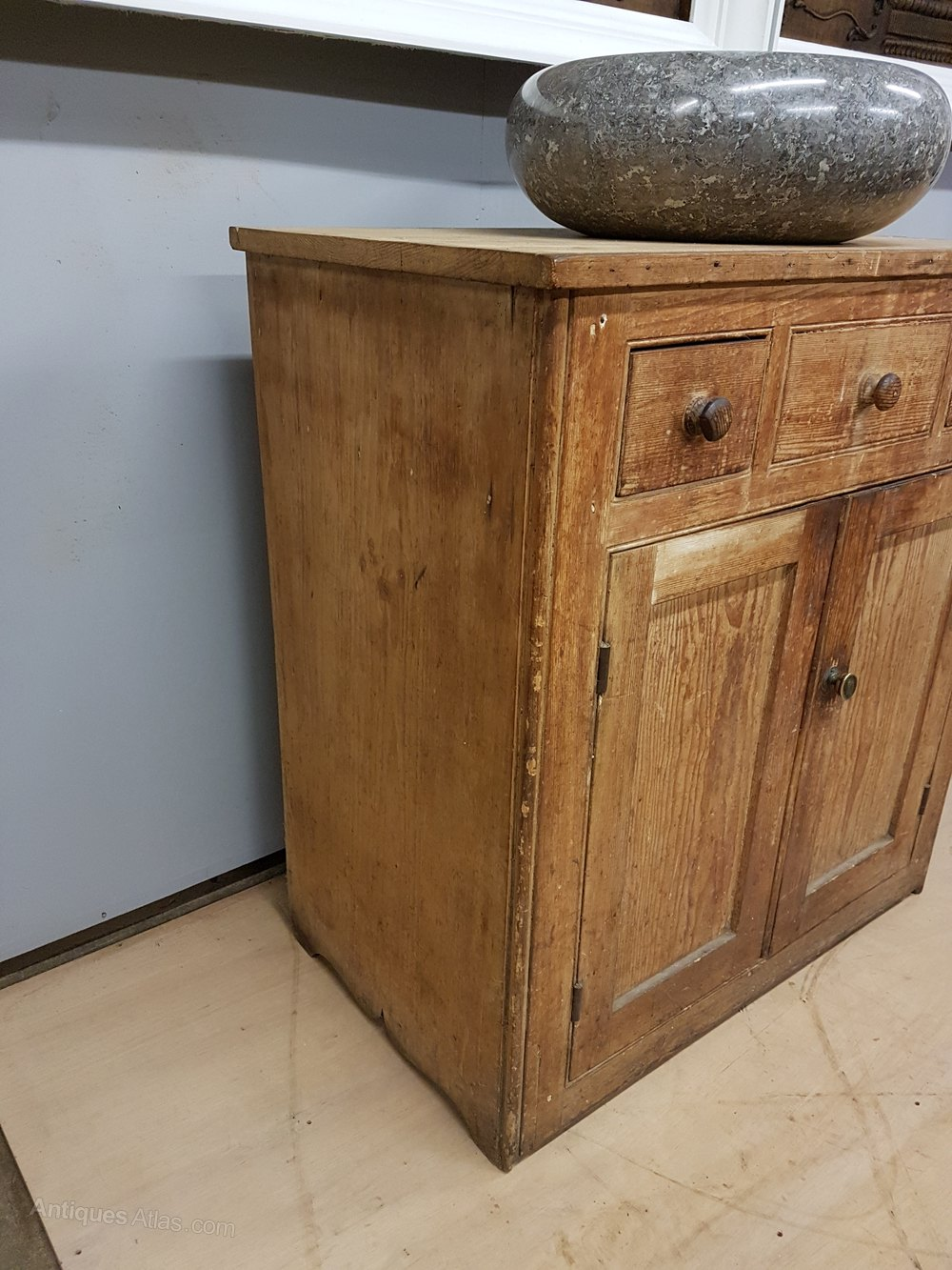 19thc pine vanity unit with carved stone sink antiques atlas for Antique stone sinks for sale