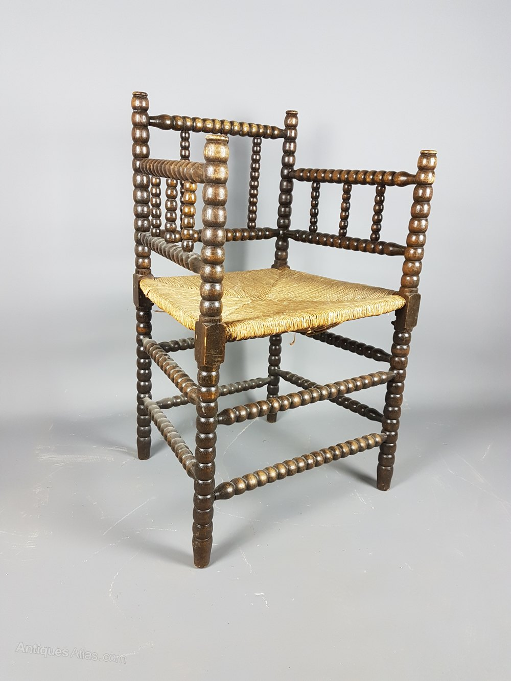 Lovely Bobbin Armchair With Rush Seat Antique Rush Seat Chairs ...
