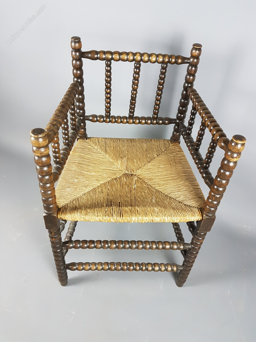 Lovely Bobbin Armchair With Rush Seat Antiques Atlas