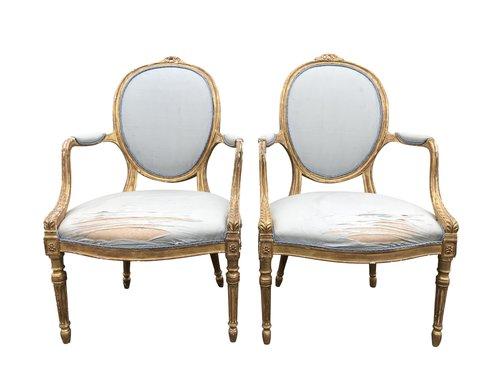 Antique Pair Gilt Open Armchairs
