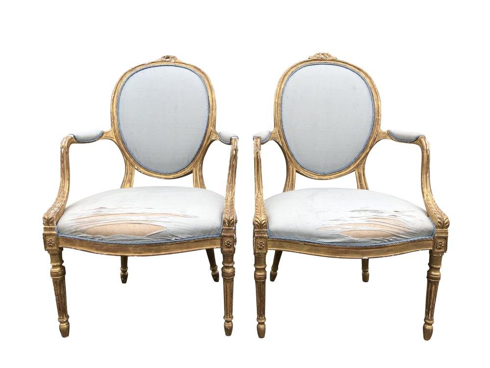 Antique Pair Gilt Open Armchairs - Antiques Atlas